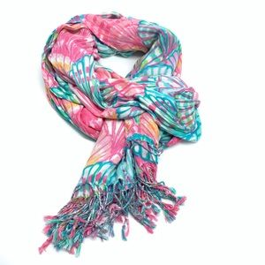 LILLY PULITZER scarf seashell print pink blue